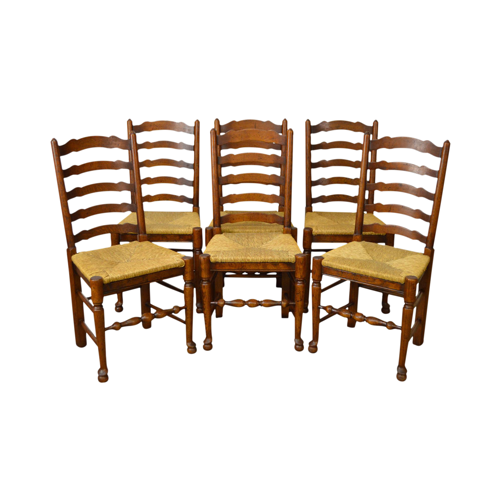 French Country Style Set Of 6 Antique Ladder Back Rush Seat Dining Chairs
