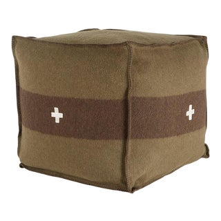 "Swiss Army Pouf, 24""X24""X24"", Green/Brown For Sale"