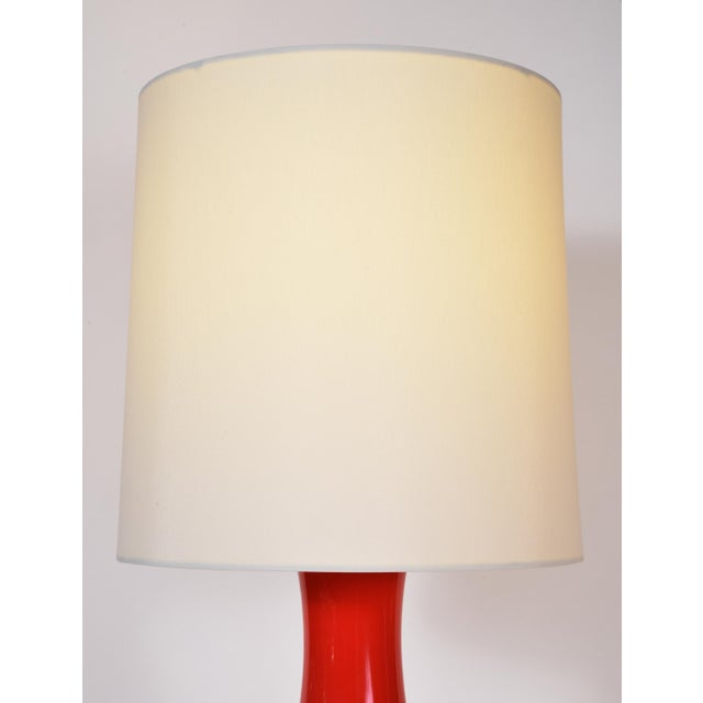 Orange Porcelain Table Lamp With Gold Wood Base - a Pair For Sale In New York - Image 6 of 9