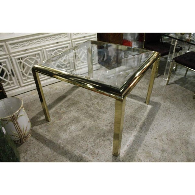 Hollywood Regency Vintage Brass Dining Table Game Table For Sale - Image 3 of 10