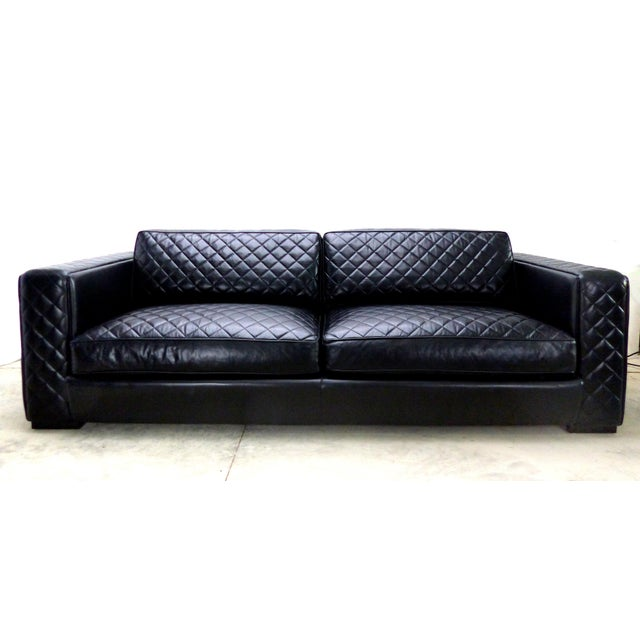 Black Embroidered Leather Sofa From Zanaboni, Italy For Sale - Image 8 of 8