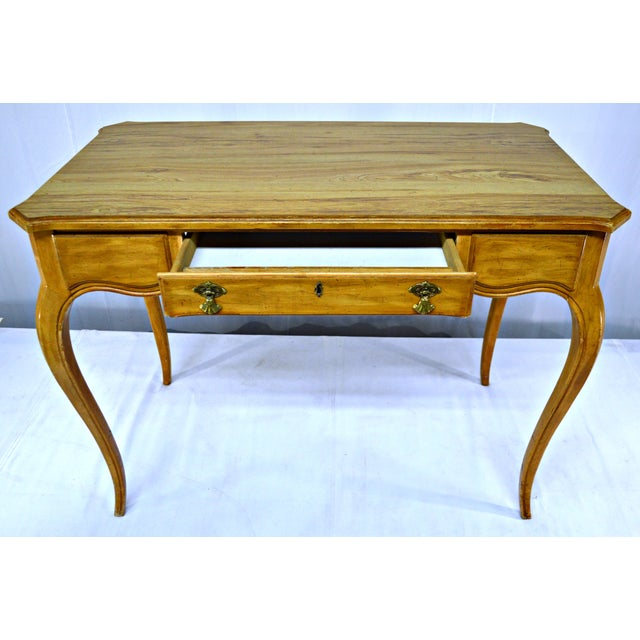 French Country French-Style Cabriole Leg Writing Desk For Sale - Image 3 of 9