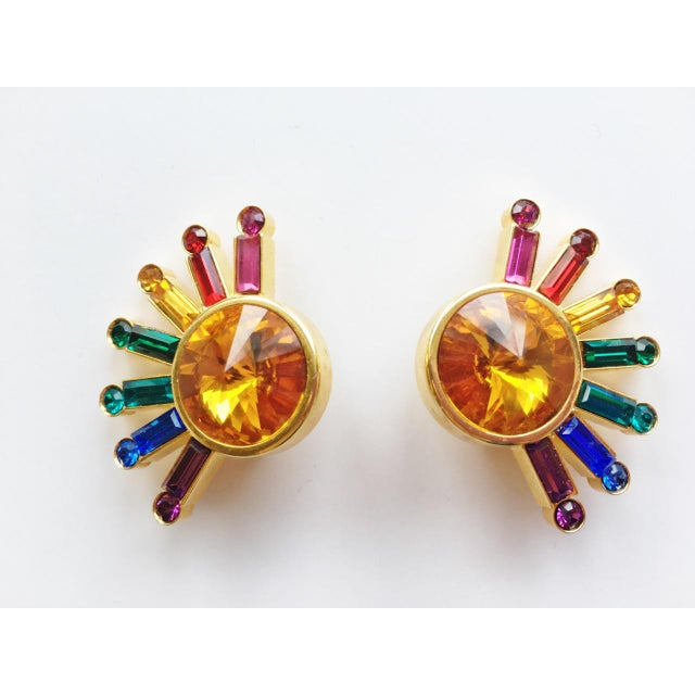 1980s 1980's Pop Art Rainbow Sunburst Earrings - a Pair For Sale - Image 5 of 5