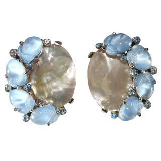 Trifari Blue Fruit Salad Stones and Mother of Pearl Earrings - a Pair For Sale