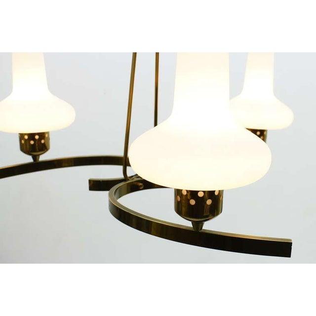 Mid-Century Modern Glass & Brass Chandelier, Italy 1950`s For Sale - Image 3 of 8