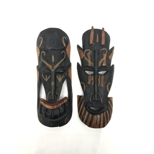 Tan Kenyan Tribal Wall Masks, a Pair For Sale - Image 8 of 8