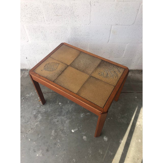 Vintage Mid Century Danish Modern Tile Top Side Table by Uldum Moblerfabrik Denmark. Feature a Texture Tile Top inlay and...