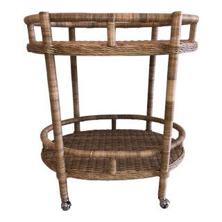 Boho Chic Rattan Oval Bar Cart For Sale