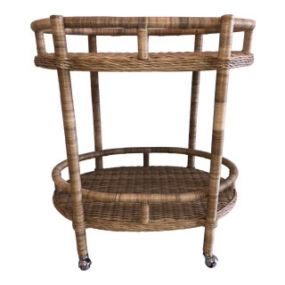 Rattan Oval Bar Cart For Sale