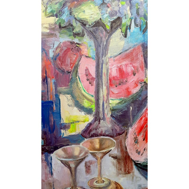 """Mid Century Abstract Still Life """"Table With Fruit"""" Oil Painting For Sale In Los Angeles - Image 6 of 13"""