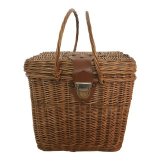 Vintage French Wicker Handles Basket For Sale