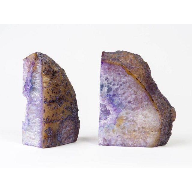 Pair of Stunning Quartz Crystal and Amethyst Bookends in Hues of Purple - Image 6 of 8