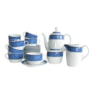 Vintage Costa Verde White Porcelain With Blue Design Tea Set - Set of 26 For Sale