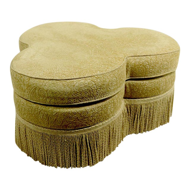 Fringed Cloverleaf Ottoman by Hickory Furniture For Sale