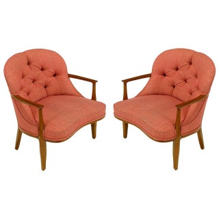 Pair of Edward Wormley Janus Collection Lounge Chairs by Dunbar For Sale
