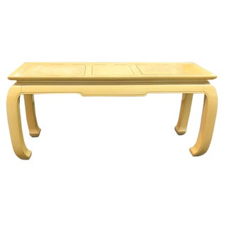 Mid Century Hollywood Regency Asian Console Table in Yellow