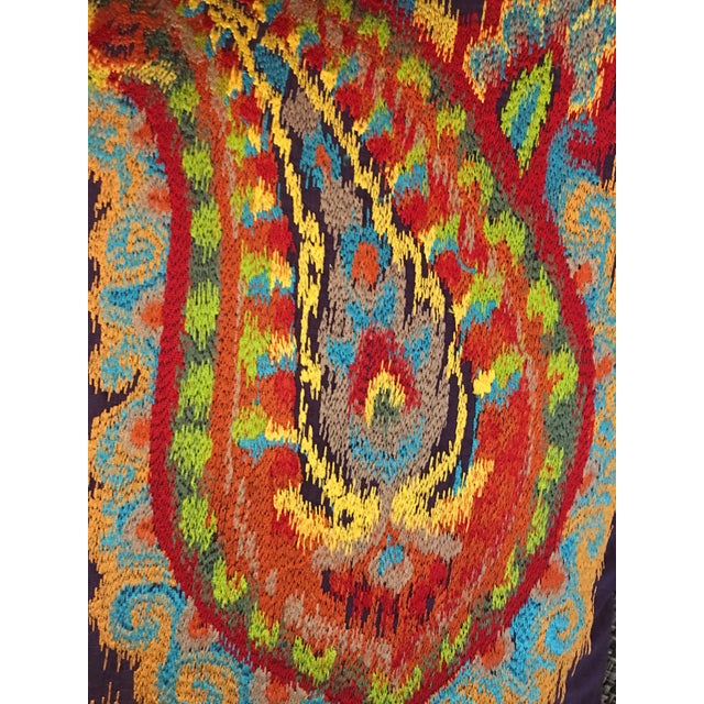 Boho Chic Silk Ikat Paisley Pillows-Pair For Sale - Image 3 of 5