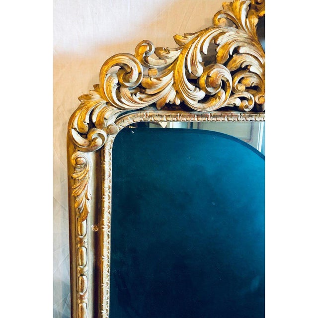 Glass Large Carved Rococo Wall / Console Mirror W. Grape and Scroll Design For Sale - Image 7 of 12