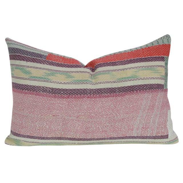 Pink Bengal Kantha Lumbar Pillow For Sale