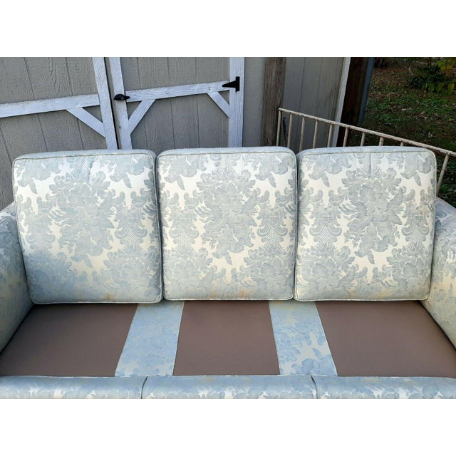 Formal Custom Built Blue on Ivory Silky Damask Upholstered Sofa For Sale - Image 10 of 13