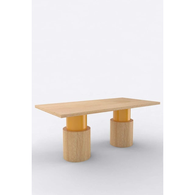 Postmodern Contemporary 102C Dining Table in Oak and Yellow by Orphan Work, 2020 For Sale - Image 3 of 3