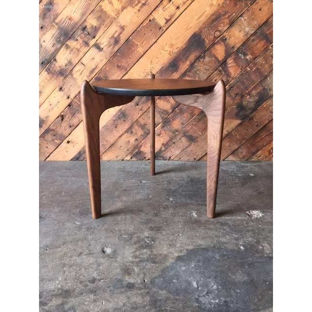 Custom Walnut Sculpted Legs Side Table For Sale - Image 7 of 7