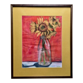 Mid-Century Sunflowers Pastel-Custom Framed