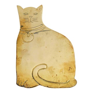 Vintage Brass Cat Trivet