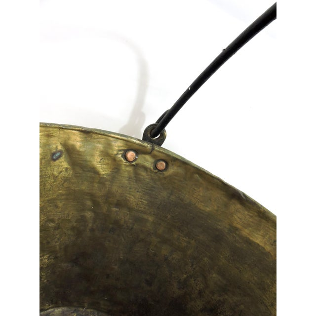 Mid 19th Century 19th Century Antique American Solid Brass Fireplace Bucket or Scuttle For Sale - Image 5 of 8