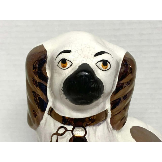 Wider Staffordshire Copper Luster Dogs With Separated Legs - a Pair For Sale - Image 11 of 12
