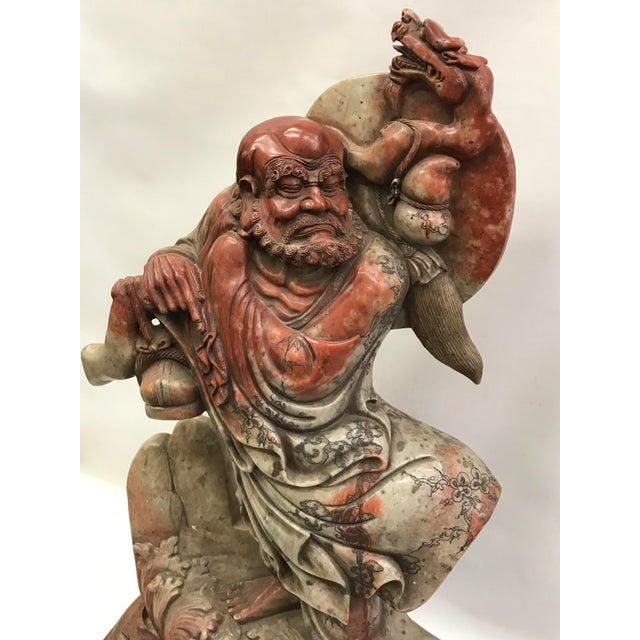 Chinese Art Carved Soapstone Monk With Wood Stand For Sale In New York - Image 6 of 10