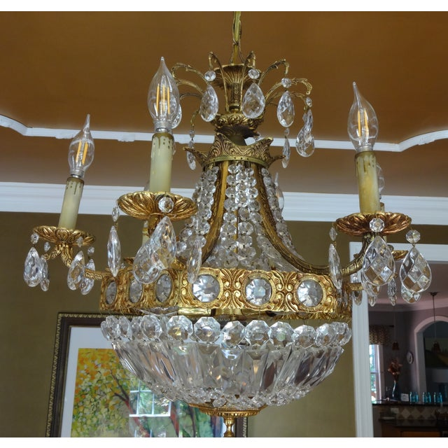 French Crystal Empire Style Chandelier - Image 8 of 8