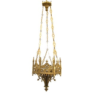 19th Century English Gothic Revival Style Six-Sided Sanctuary Chandelier For Sale