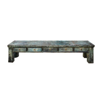 Chinese Distressed Teal Blue Green 4 Drawers Low Bench Cabinet Table For Sale