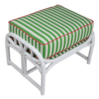 Ficks Reed Lilly White & Green Ottoman For Sale