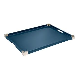 Rita Konig Collection Corners Tray Nickel in Marine Blue / Nickel For Sale