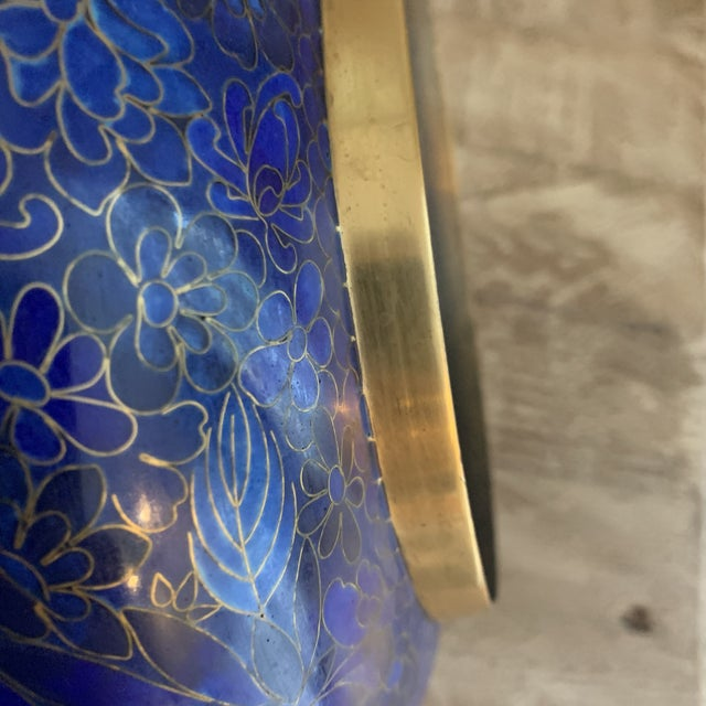 Cobalt Blue Chinese Cloisonné Bowl For Sale In New York - Image 6 of 7