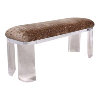 Mid-Century Modern Lucite Bench Attributed to Karl Springer For Sale