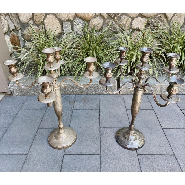 Vintage Silverplate 5-Arm Candelabra - a Pair For Sale - Image 12 of 12