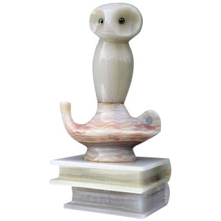 1950s Italian Alabaster Owl Sculpture For Sale