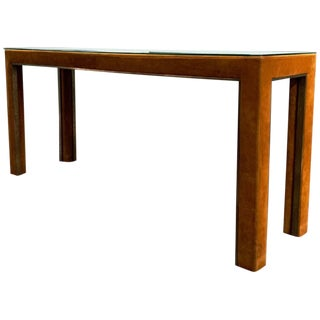 1970s Mid-CenturyModern Golden Brown Suede & Bronze Custom Console Table For Sale