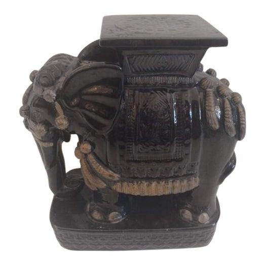 Vintage Black Ceramic Garden Stool For Sale