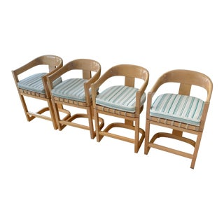 """Karl Springer Attributed """"Onassis"""" Swivel Counter Stools For Sale"""