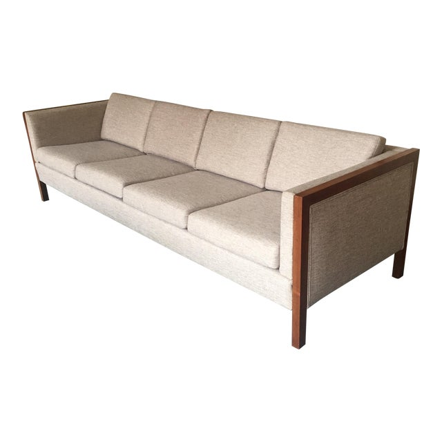 Mid-Century Modern Four Seat Long Sofa by Dux For Sale