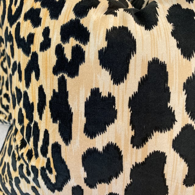 """Custom pair of 22"""" pillows covered in a Braemore Leopard print velvet. These pillows have Turkish corners, are self..."""
