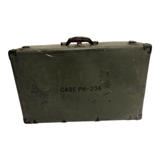 Vintage Industrial Military Fiber Suitcase Trunk For Sale