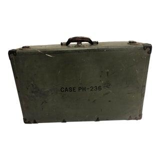 Vintage Industrial Military Fiber Suitcase Trunk For Sale