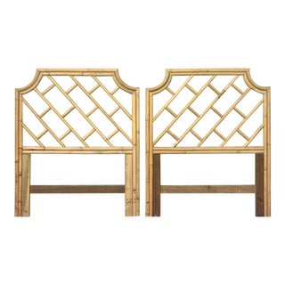 Chinese Chippendale Bamboo Rattan Twin Headboards - a Pair For Sale