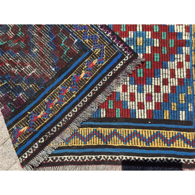 Blue Vintage Turkish Kilim Rug For Sale - Image 8 of 9