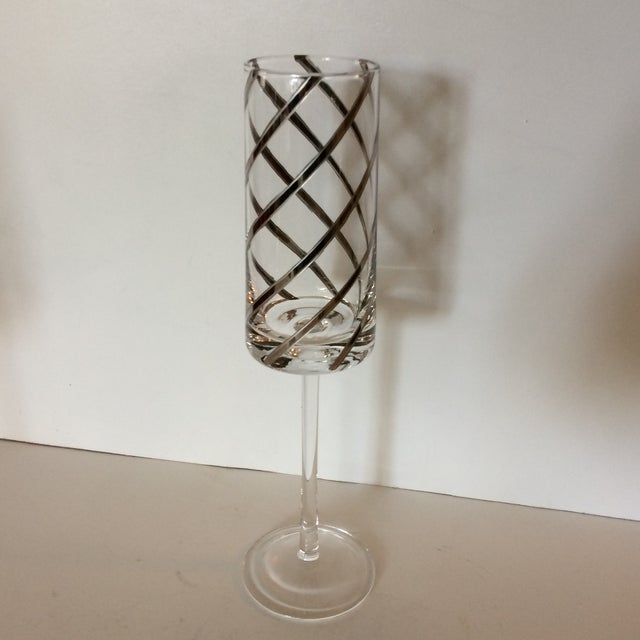 Contemporary Vintage Crystal Platinum Swirl Toasting Glasses - A Pair For Sale - Image 3 of 11